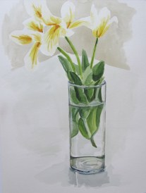 Tulips in the studio, May 13, 2012 watercolour on paper
