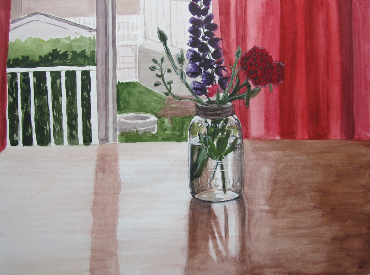Garden Flowers Still Life, July 17, 2012 watercolour on paper 12 x 16
