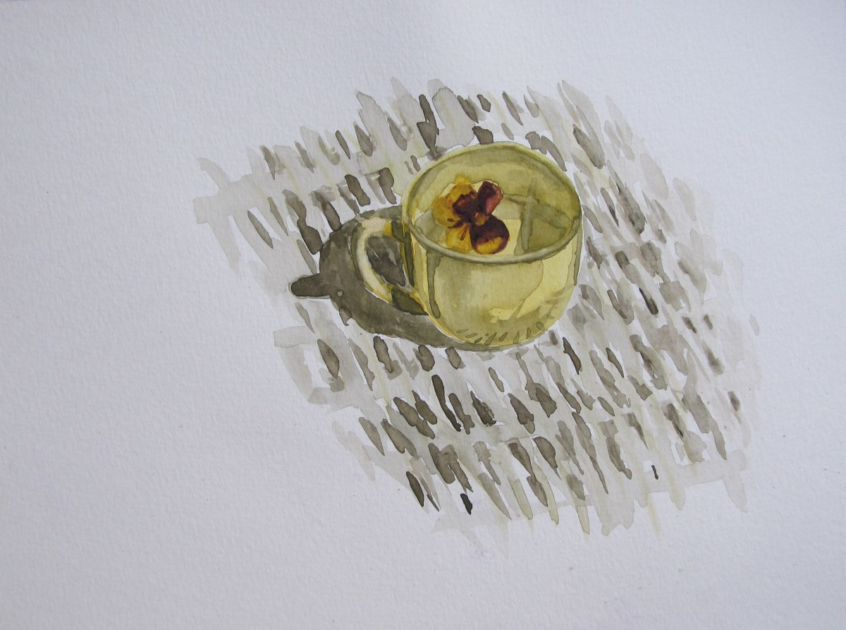 Toy cup and pansy, Jully 31, 2012 watercolour on paper 9 x 12