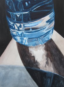 Water Bottle on Knee, July 2012, watercolour on paper