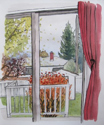 Comic Book Backyard, October 16, 2012 watercolour on paper 13 x 15