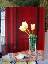 Photograph of the real reflections on the First Tulips painting (darker)