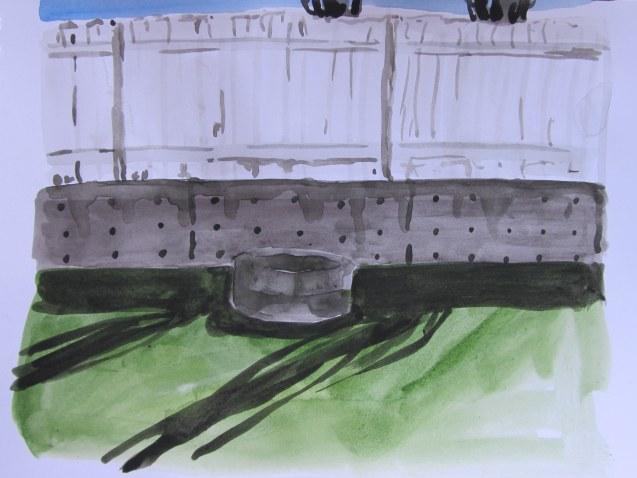 Backyard shadows 2, May 9, 2013, watercolour on paper