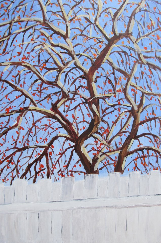 Crab-apple tree, May 9, 2013, acrylic on masonite