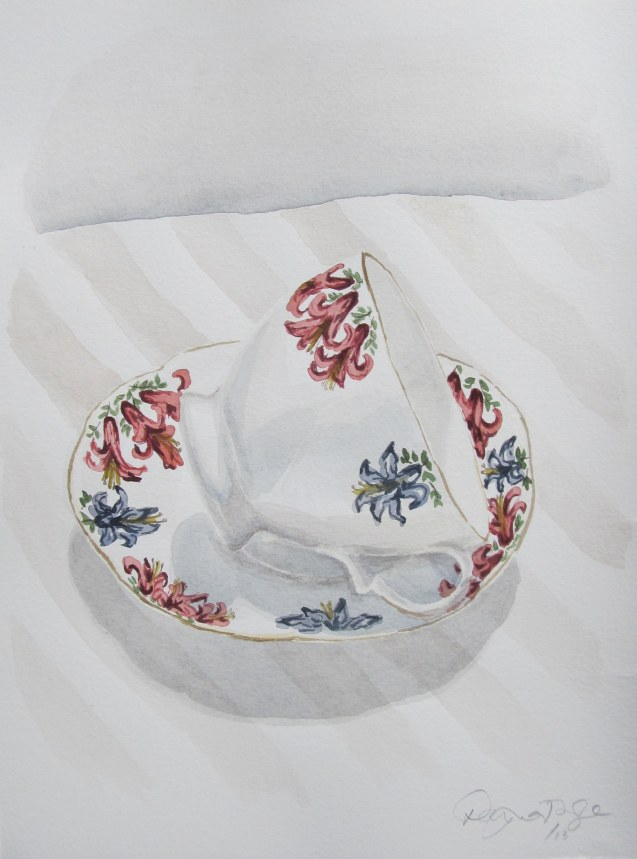 Marie's tea cup #1, Nov. 2012, watercolour on paper 9 x 12