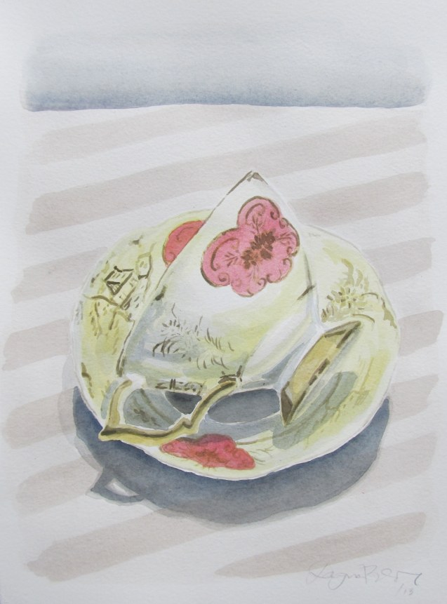 Marie's Tea-cup #2, Jun. 2013, watercolour on paper 9 x 12