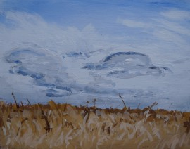 May 1 2014 Cloud study, acrylic on masonite 11in. x 14in.