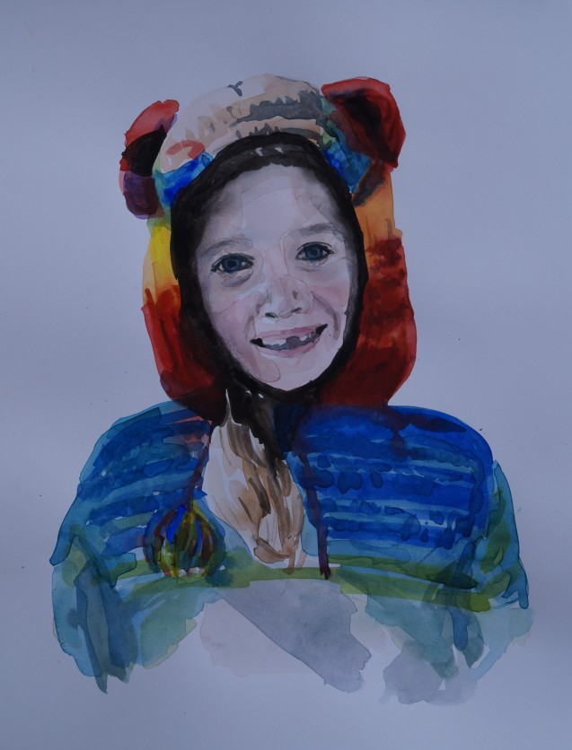 Poppy in her Monkey Sweater, Feb. 2014, watercolour on paper