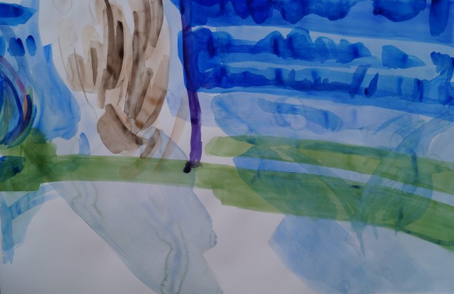 Poppy's Ponytail, July 2014, watercolour on paper 25in. x 38in.