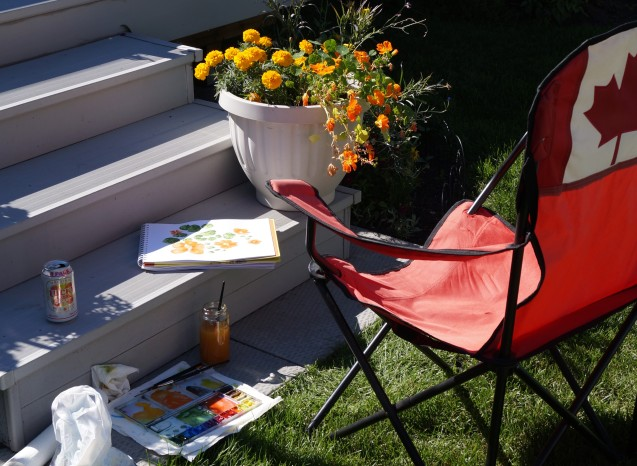 Painting outside in the last days of summer.