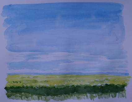 Prairie sky, Aug. 2014, watercolour on paper 9in. x 11in.