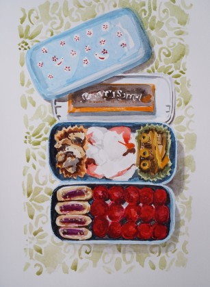 September 19th Bento, September, 2014, watercolour on paper