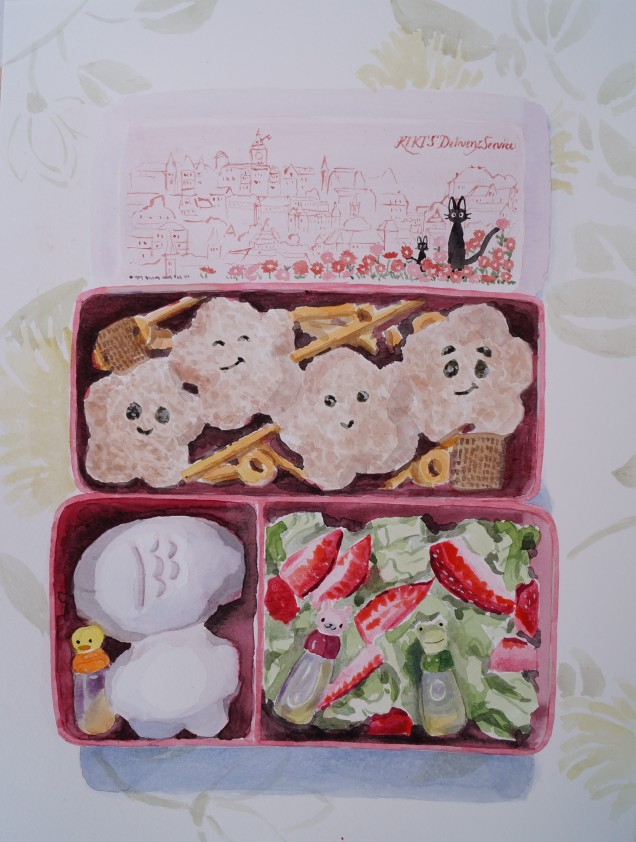 October 1st Bento, Oct. 2014, watercolour on paper