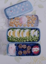 Round Things Bento (September 22nd Bento), Oct. 2014, watercolour on paper