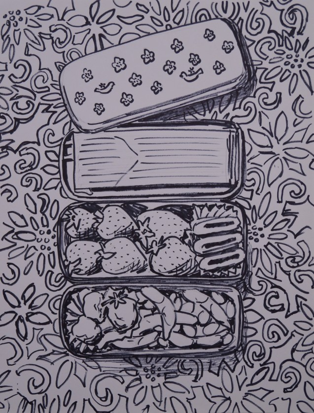 September 3rd Bento Sketch, Oct. 2014, pencil and sharpie on paper