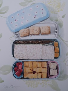 Squares Bento, Dec. 2014, watercolour on paper 11in. x 15 in.