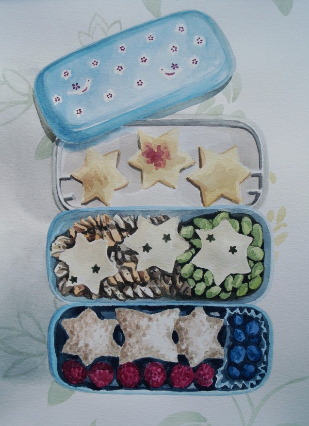 Stars Bento, Dec. 2014, watercolour on paper 11in. x 15 in.