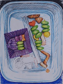 Bento Leftovers, Jan. 2015, sharpies on paper
