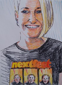 Self-portrait in Nextfest shirt, Jan. 2015, coloured sharpie on paper