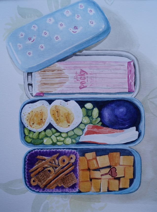 Heart Egg Bento, Feb. 2015, watercolour on paper 11in. x 13in.