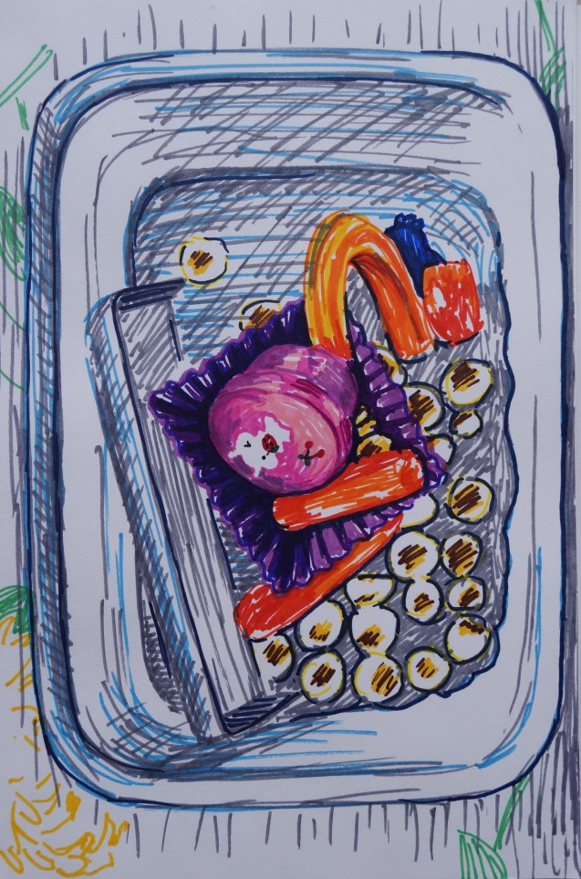 Pink Bunny Bento Leftovers, Feb. 2015,  Sharpies on paper