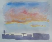 """April Sunset, Apr. 2016, watercolour on paper, 11""""x14"""""""