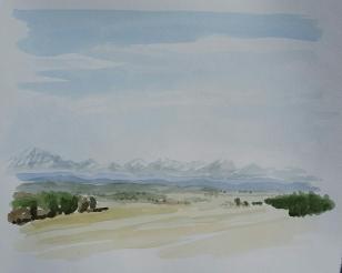 """April Landscape, Apr. 2016, watercolour on paper, 11""""x14"""""""