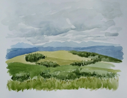 "View from the Rothney Observatory, Jul. 2016, watercolour on paper, 11""x14"""