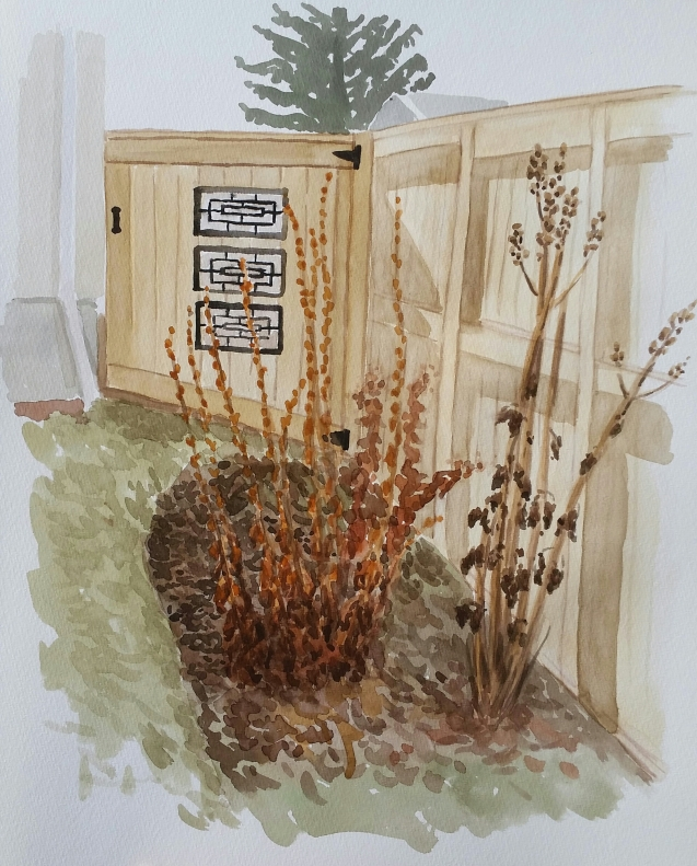 "Gate and Flowerbed, Mar. 28, 2017, watercolour on paper, 11""x14"""