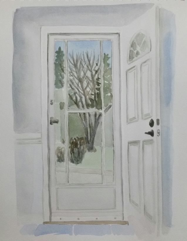 "Front Door, Mar. 31, 2017, watercolour on paper, 11""x14"""