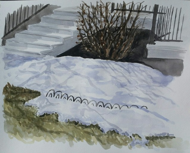 "Snowy Flowerbed, Mar. 26, 2017, watercolour on paper, 11""x14"""