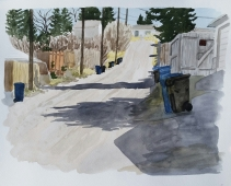 Back Alley, Apr. 4, 2017, watercolour on paper