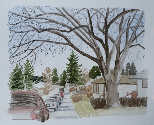 Street with Tree, Apr. 5, 2017, watercolour on paper