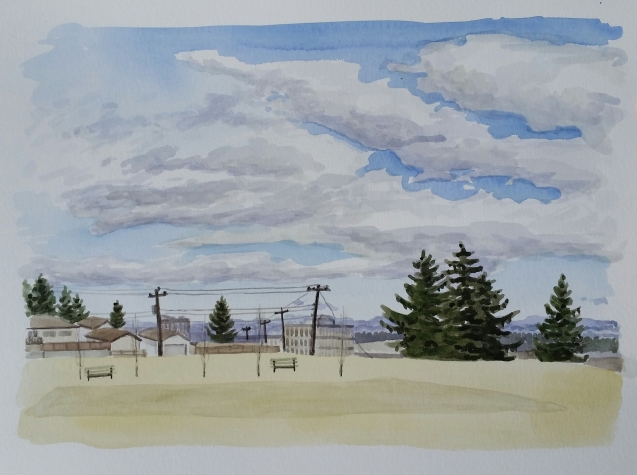 The Old Park Location, Apr, 6, 2017, watercolour on paper