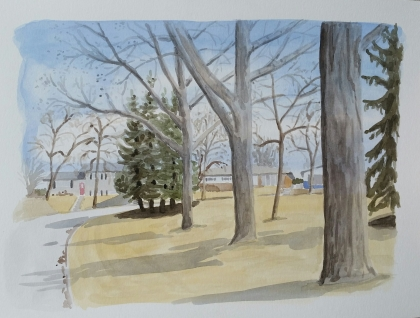"Treed Area, Apr. 8, 2017, watercolour on paper, 11""x15"""