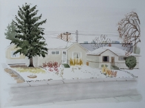 Spring Snow, Apr. 13, 2017, watercolour on paper