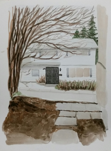 Sideyard View, Apr. 17, 2017, watercolour on paper