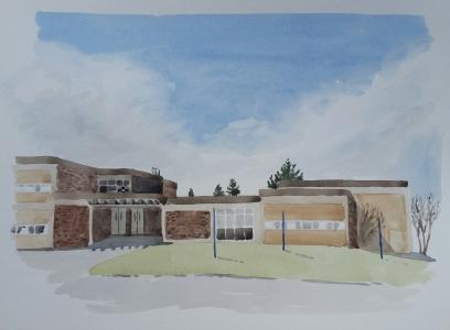 Poppy's School, Apr. 18, 2017, waterolour on paper