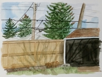 Shadows on the Fence, Apr. 19, 2017, watercolou on paper