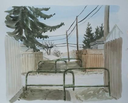 """The Secret Path, Apr. 1, 2017, watercolour on paper, 11""""x14"""""""