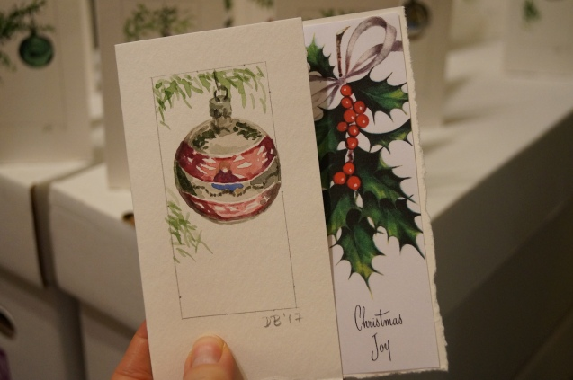 Hand painted Christmas cards.