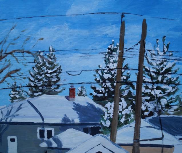 Fresh Snow, acrylic on panel, Dec.20, 2017