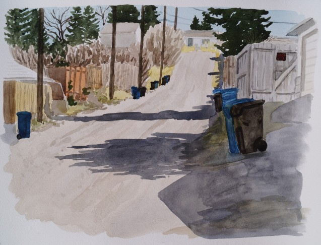 Back Alley, Apr. 4, 2017, watercolour on paper, 11 x 14