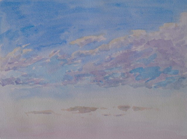 Early Morning Sky, Mar. 19, 2018, watercolour