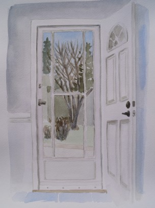 Front Door, Mar. 31, 2018, watercolour on paper, 11 x 14