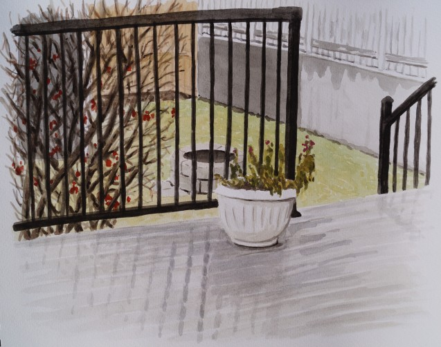 Rainy Day Deck, Apr. 2, 2017, watercolour on paper, 11 x 14
