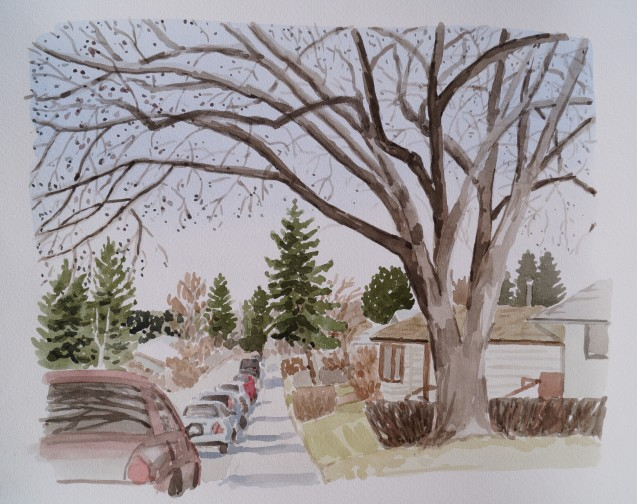 Street with Tree, Apr. 5. 2017, watercolour on paper, 11 x 14
