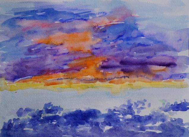 Sunset, Mar. 25, 2018, watercolour