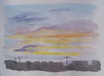 Sunset, Mar. 29, 2017, watercolour on paper, 11 x 14