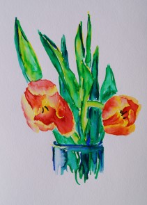 Tulips 2, Mar. 5, 2018, watercolour pens